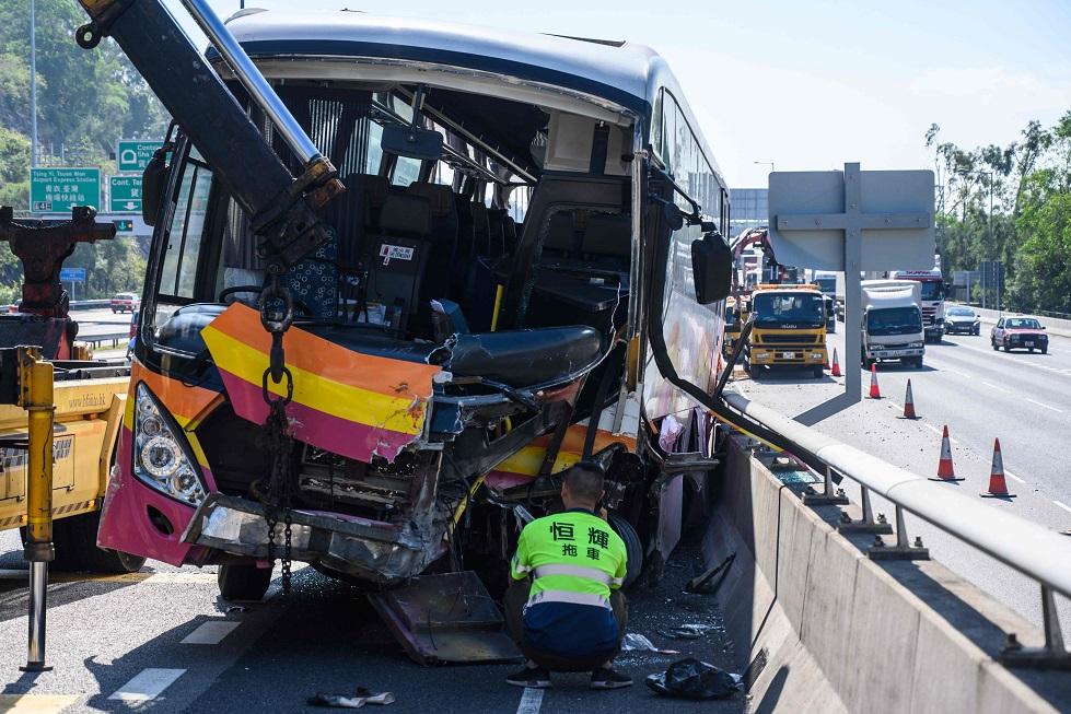 Hong Kong acidente ônibus