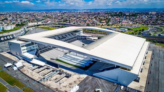 Imagem aérea da Neo Química Arena.