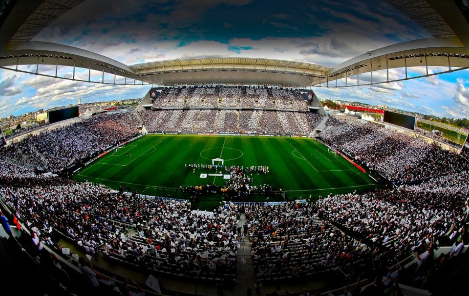 Imagem aérea da Arena Corinthians. Crédito da foto: Divulgação/SCCP
