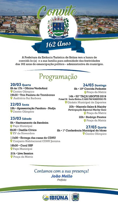 Programação do aniversário de Ibiúna
