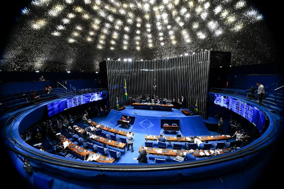 Senadores durante trabalho em Brasília, Distrito Federal