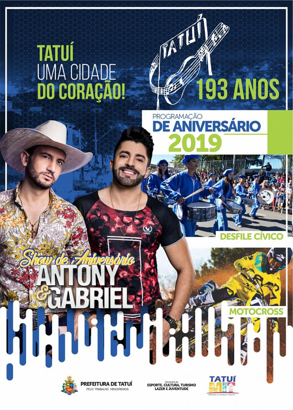 Show de Aniversário reúne 10 artistas regionais e a dupla sertaneja Antony & Gabriel