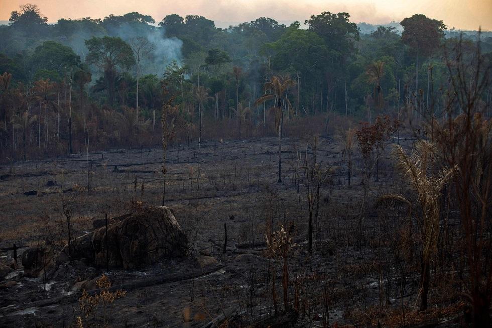 Vista de uma área queimada na floresta amazônica.