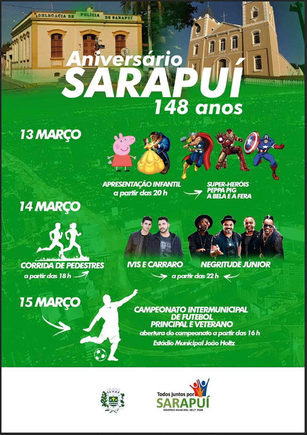 Festa de aniversário de Sarapuí tem atrações para todas as idades