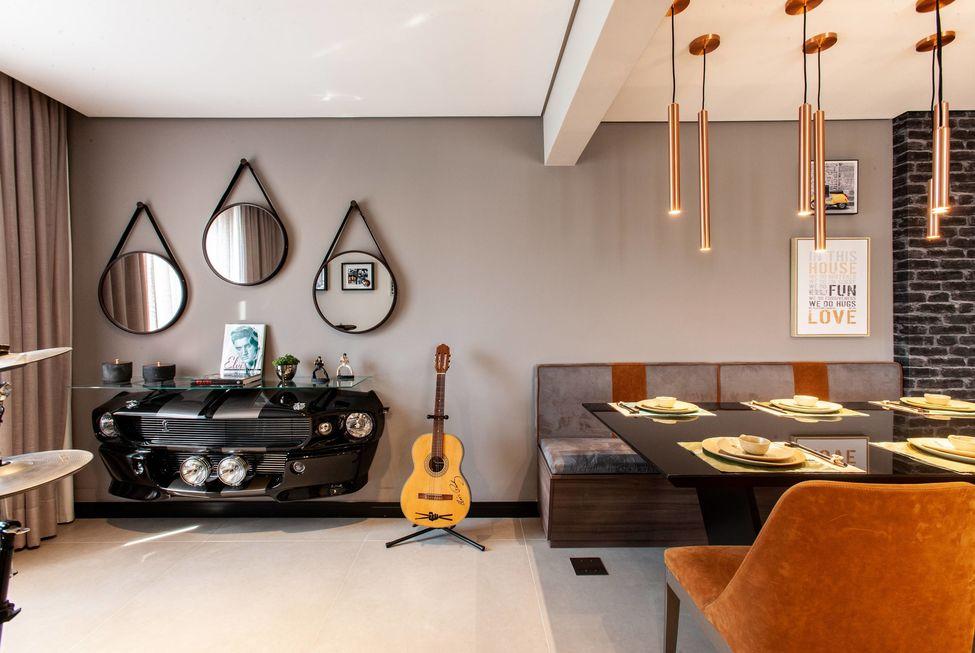 Apartamento masculino e com inspiração rock