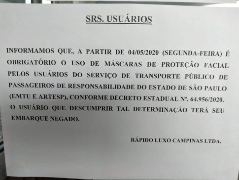 Uso de máscara será obrigatório em 91 linhas da região de Sorocaba
