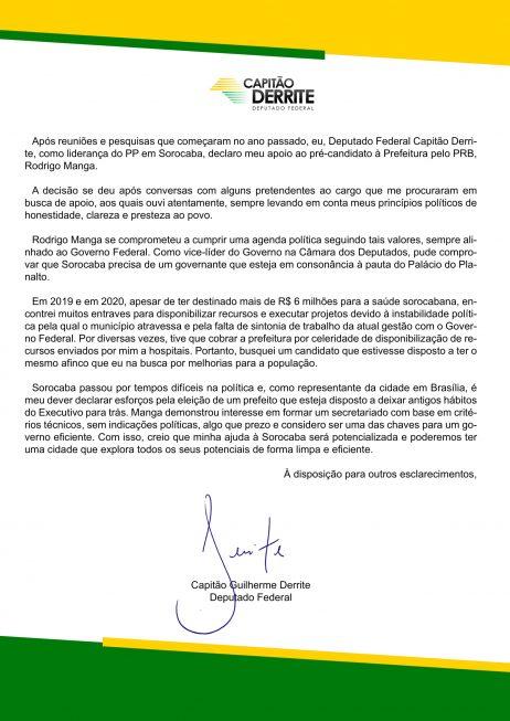 Apoio ao candidato Rodrigo Manga