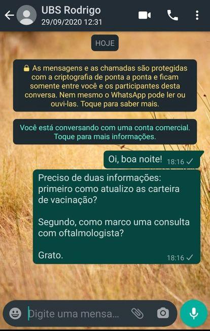 Atendimento de UBSs por WhatsApp tem problemas