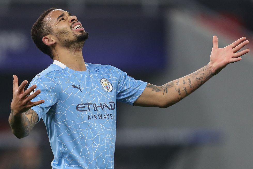 Gabriel Jesus marcou contra o Mönchengladbach. Crédito da foto: Ferenc Isza / AFP (24/2/2021)